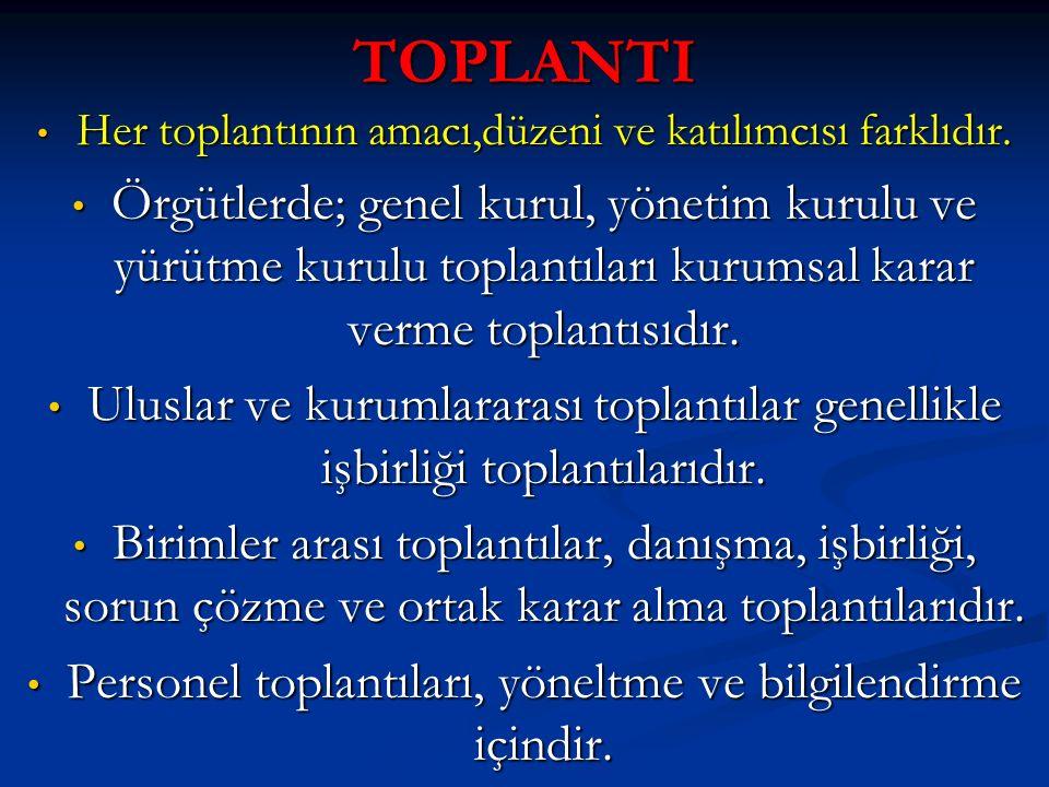 TOPLANTI Her toplantının amacı,düzeni ve katılımcısı farklıdır. Her toplantının amacı,düzeni ve katılımcısı farklıdır. Örgütlerde; genel kurul, yöneti
