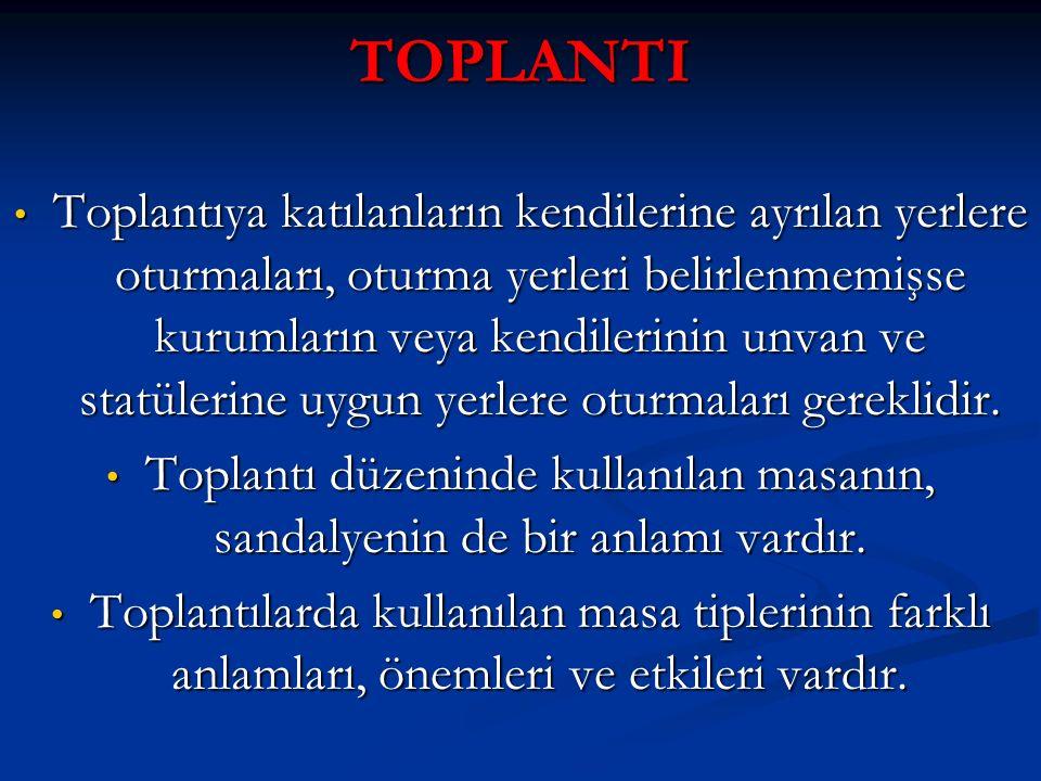 TOPLANTI Toplantıya katılanların kendilerine ayrılan yerlere oturmaları, oturma yerleri belirlenmemişse kurumların veya kendilerinin unvan ve statüler