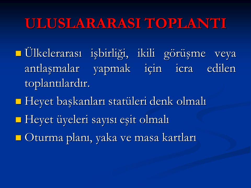ULUSLARARASI TOPLANTI Ülkelerarası işbirliği, ikili görüşme veya antlaşmalar yapmak için icra edilen toplantılardır. Ülkelerarası işbirliği, ikili gör
