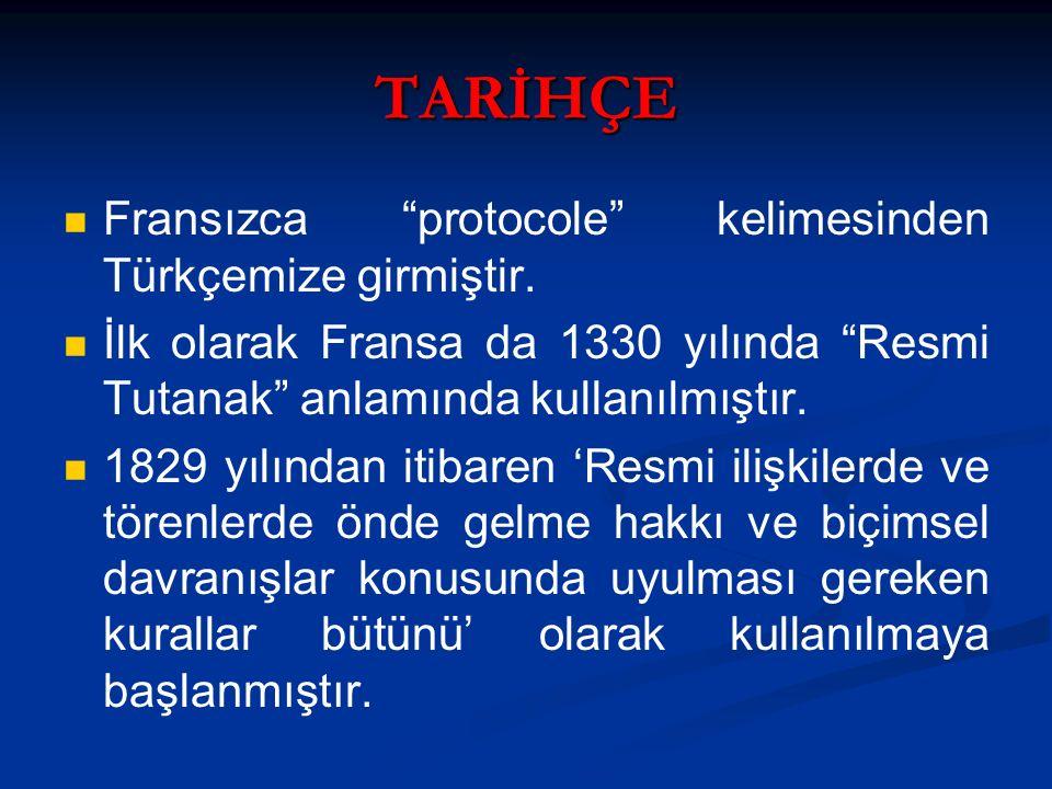 """TARİHÇE Fransızca """"protocole"""" kelimesinden Türkçemize girmiştir. İlk olarak Fransa da 1330 yılında """"Resmi Tutanak"""" anlamında kullanılmıştır. 1829 yılı"""