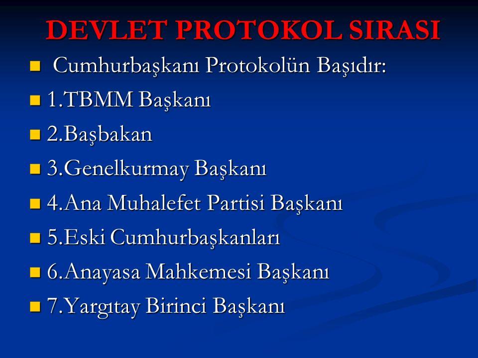 DEVLET PROTOKOL SIRASI Cumhurbaşkanı Protokolün Başıdır: Cumhurbaşkanı Protokolün Başıdır: 1.TBMM Başkanı 1.TBMM Başkanı 2.Başbakan 2.Başbakan 3.Genel