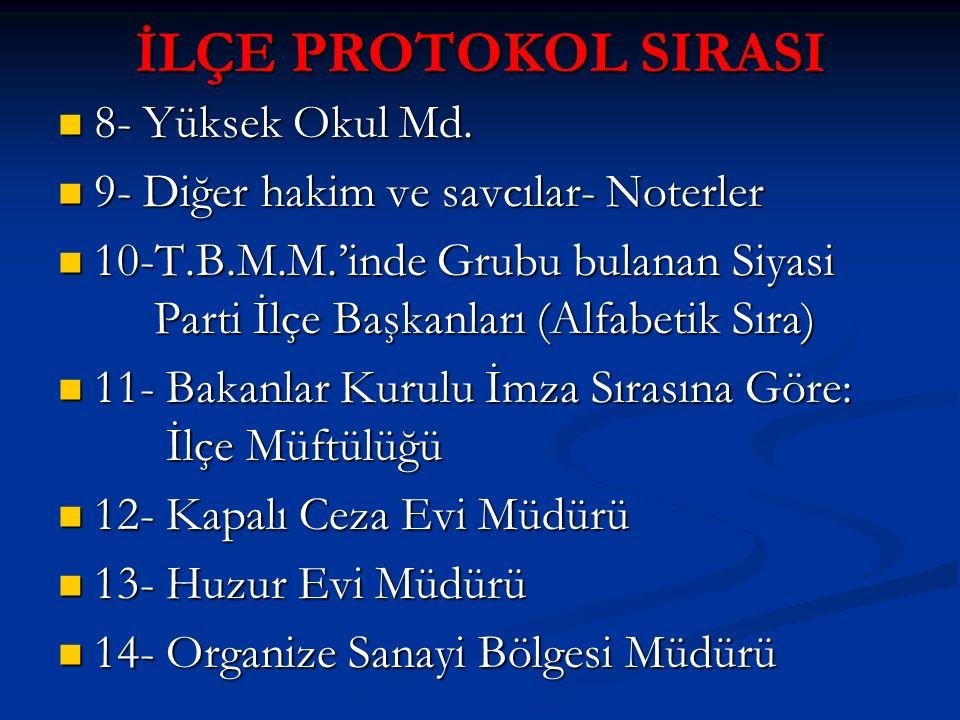 İLÇE PROTOKOL SIRASI 8- Yüksek Okul Md.8- Yüksek Okul Md.