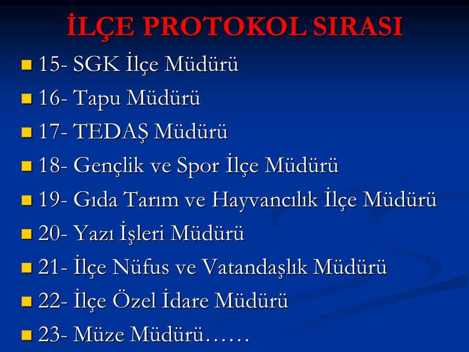 İLÇE PROTOKOL SIRASI 15- SGK İlçe Müdürü 15- SGK İlçe Müdürü 16- Tapu Müdürü 16- Tapu Müdürü 17- TEDAŞ Müdürü 17- TEDAŞ Müdürü 18- Gençlik ve Spor İlç