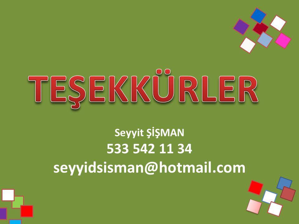 Seyyit ŞİŞMAN 533 542 11 34 seyyidsisman@hotmail.com