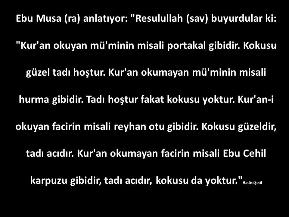Ebu Musa (ra) anlatıyor: Resulullah (sav) buyurdular ki: Kur an okuyan mü minin misali portakal gibidir.
