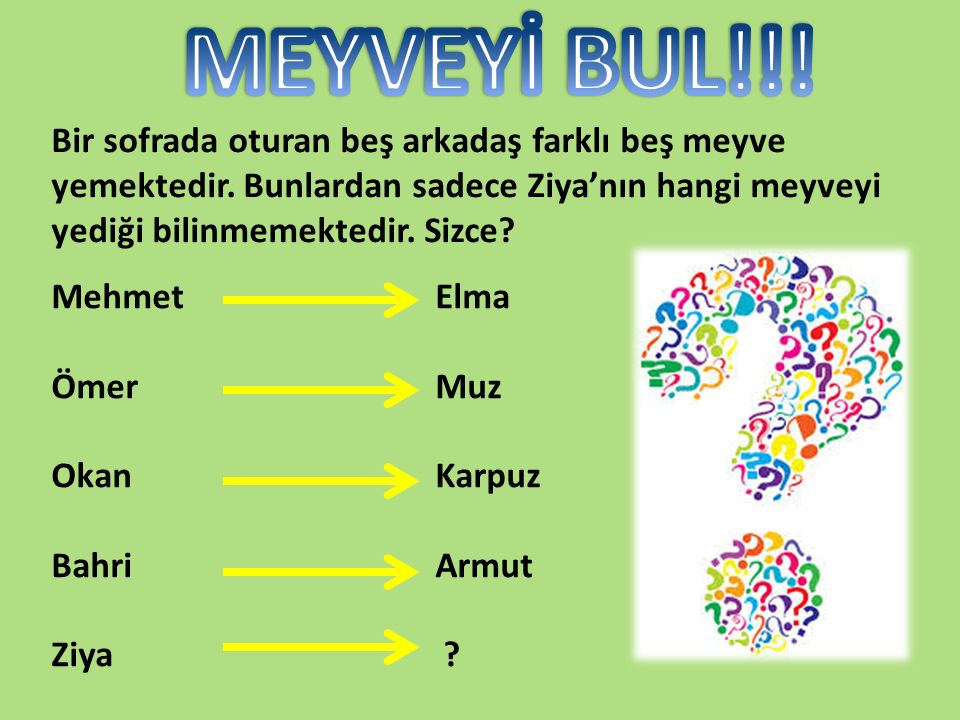 MehmetElma ÖmerMuz OkanKarpuz BahriArmut Ziya