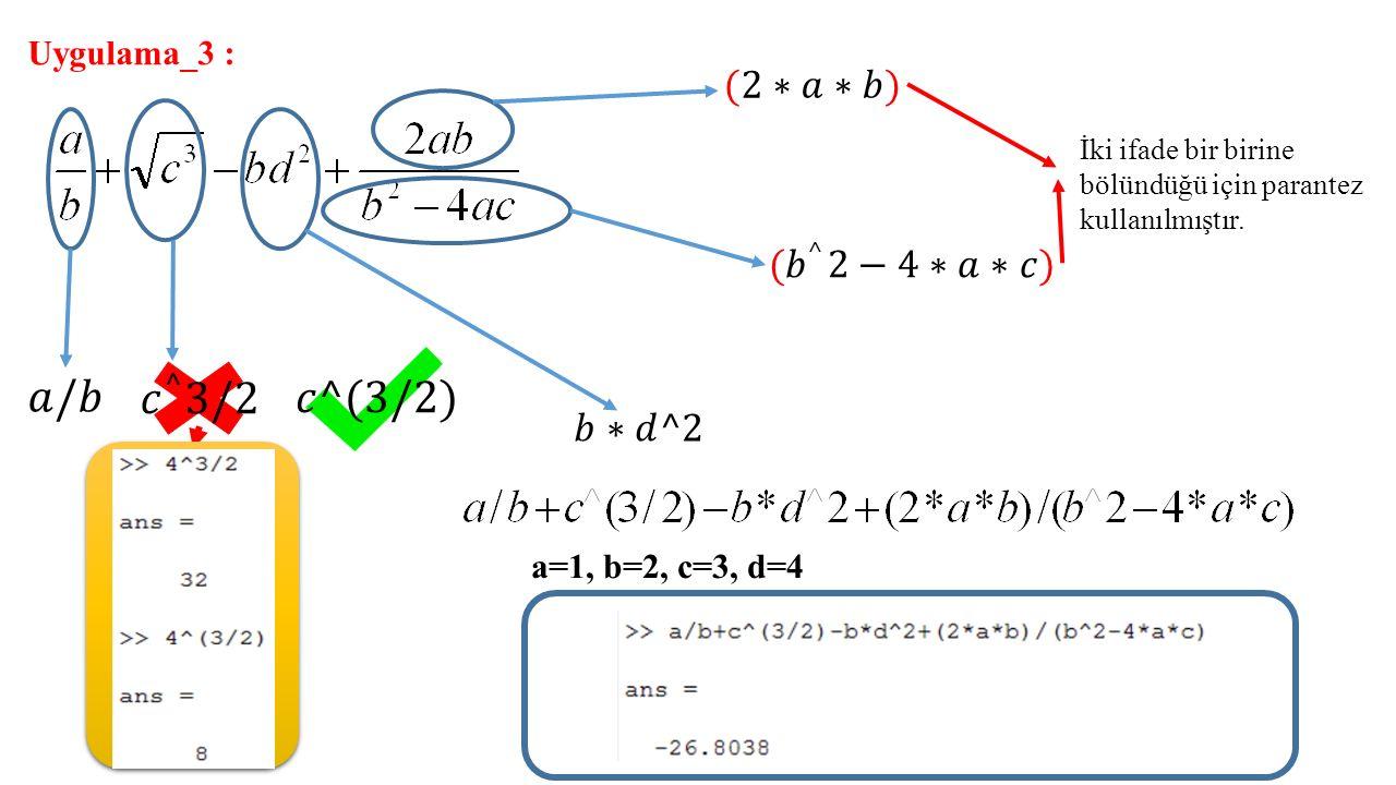 Uygulama_3 : İki ifade bir birine bölündüğü için parantez kullanılmıştır. a=1, b=2, c=3, d=4
