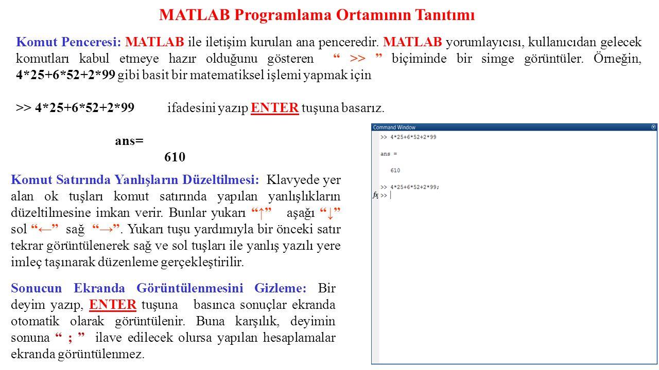 Komut Penceresi: MATLAB ile iletişim kurulan ana penceredir. MATLAB yorumlayıcısı, kullanıcıdan gelecek komutları kabul etmeye hazır olduğunu gösteren