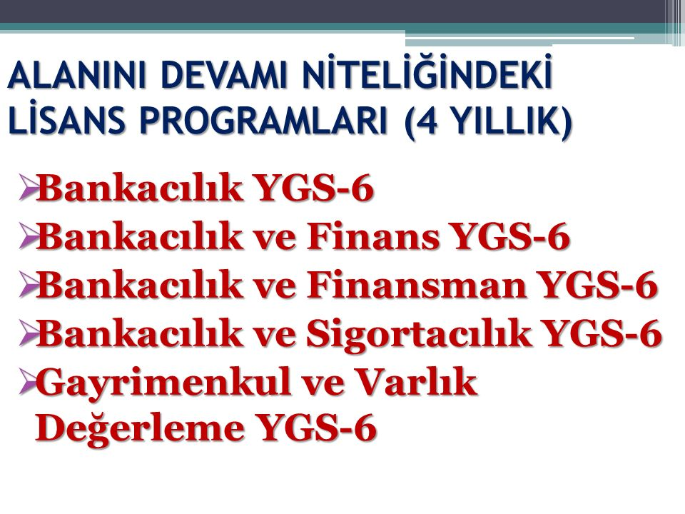 ALANINI DEVAMI NİTELİĞİNDEKİ LİSANS PROGRAMLARI (4 YILLIK)  Bankacılık YGS-6  Bankacılık ve Finans YGS-6  Bankacılık ve Finansman YGS-6  Bankacılı