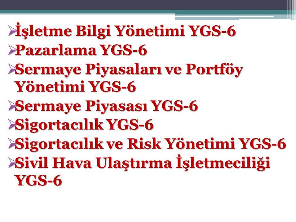  İşletme Bilgi Yönetimi YGS-6  Pazarlama YGS-6  Sermaye Piyasaları ve Portföy Yönetimi YGS-6  Sermaye Piyasası YGS-6  Sigortacılık YGS-6  Sigort