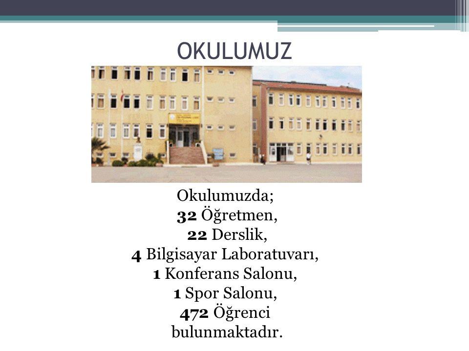 OKULUMUZ Okulumuzda; 32 Öğretmen, 22 Derslik, 4 Bilgisayar Laboratuvarı, 1 Konferans Salonu, 1 Spor Salonu, 472 Öğrenci bulunmaktadır.