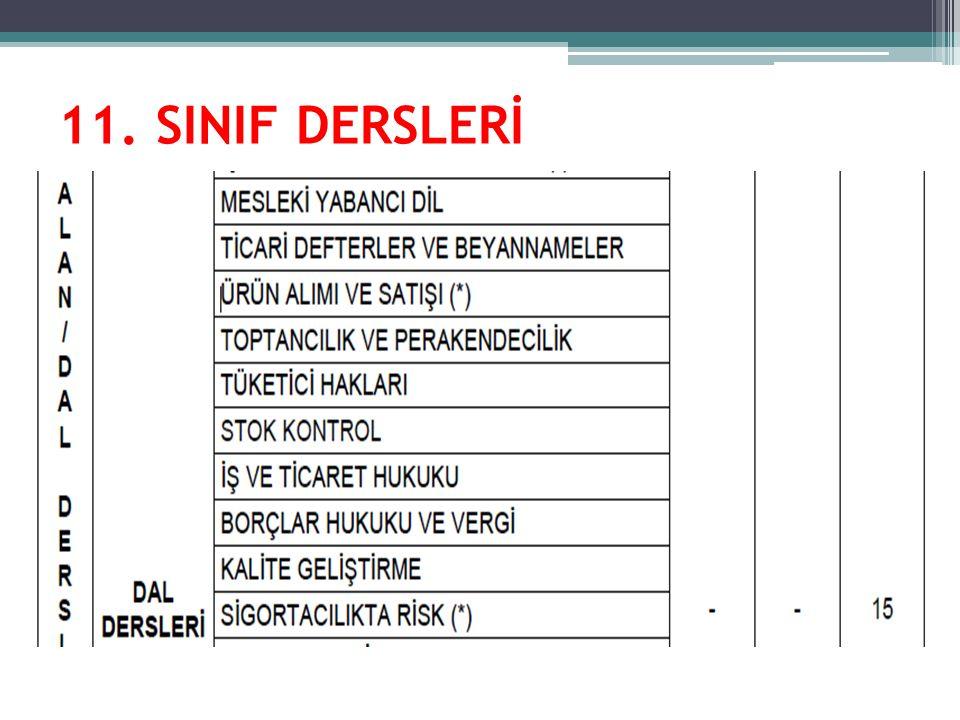 11. SINIF DERSLERİ