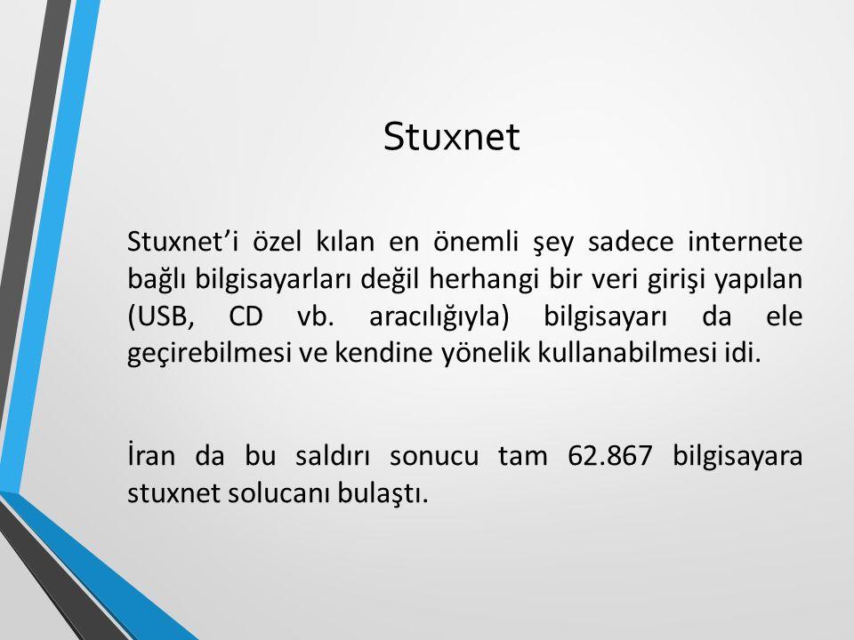 Stuxnet Stuxnet'i özel kılan en önemli şey sadece internete bağlı bilgisayarları değil herhangi bir veri girişi yapılan (USB, CD vb.
