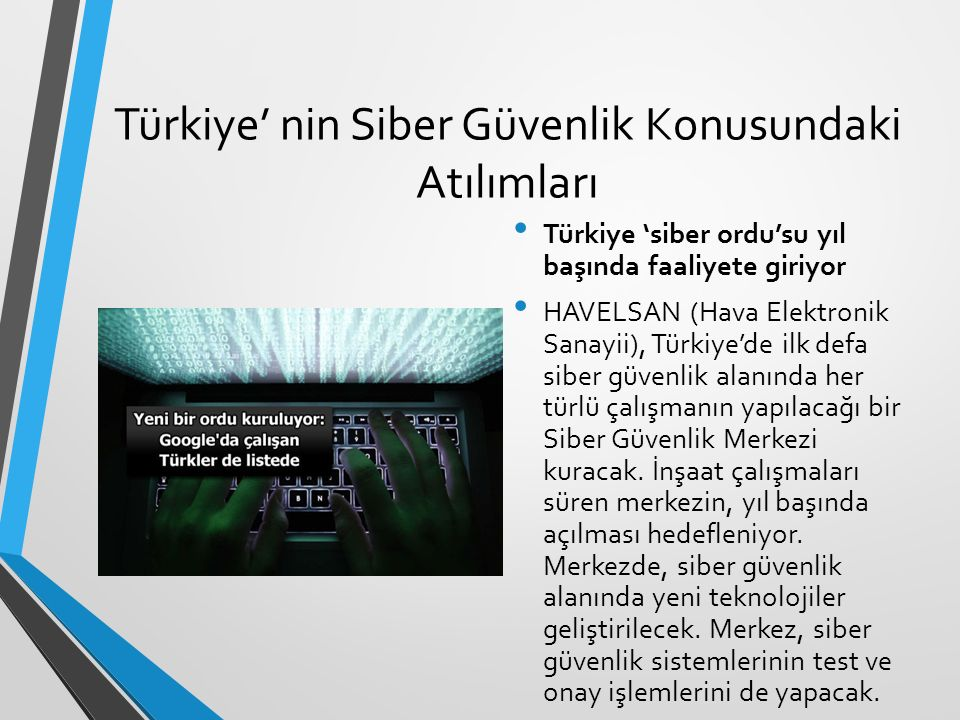 Türkiye' nin Siber Güvenlik Konusundaki Atılımları Türkiye 'siber ordu'su yıl başında faaliyete giriyor HAVELSAN (Hava Elektronik Sanayii), Türkiye'de