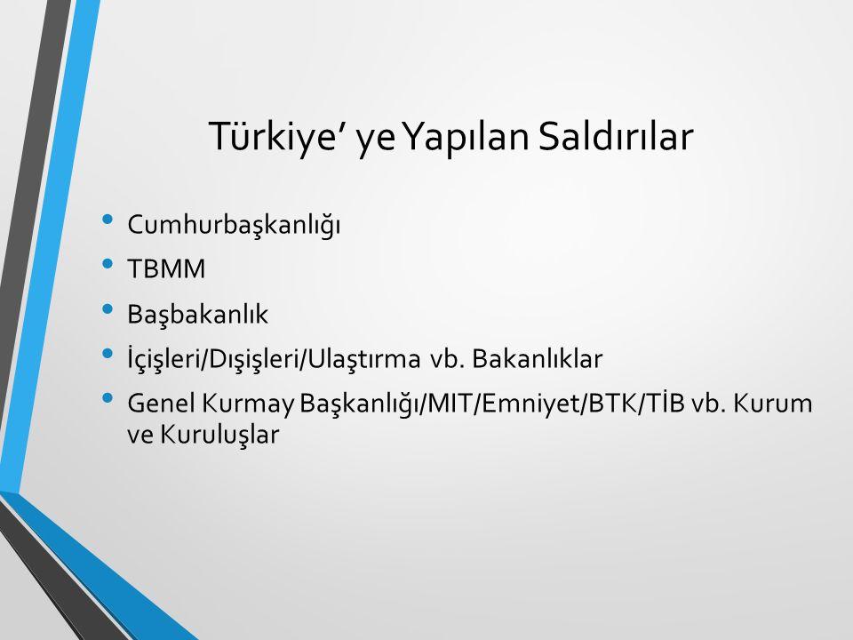Türkiye' ye Yapılan Saldırılar Cumhurbaşkanlığı TBMM Başbakanlık İçişleri/Dışişleri/Ulaştırma vb. Bakanlıklar Genel Kurmay Başkanlığı/MIT/Emniyet/BTK/