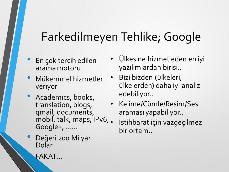 Farkedilmeyen Tehlike; Google En çok tercih edilen arama motoru Mükemmel hizmetler veriyor Academics, books, translation, blogs, gmail, documents, mobil, talk, maps, IPv6, Google+, …… Değeri 200 Milyar Dolar FAKAT… Ülkesine hizmet eden en iyi yazılımlardan birisi..