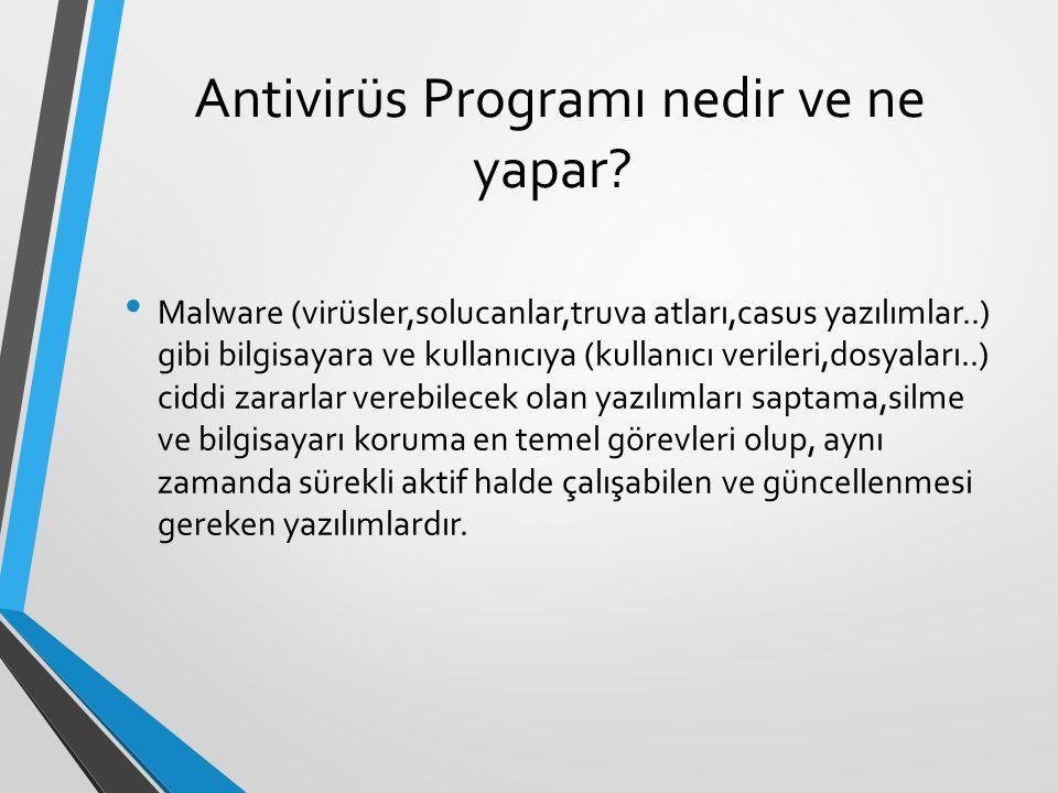 Antivirüs Programı nedir ve ne yapar? Malware (virüsler,solucanlar,truva atları,casus yazılımlar..) gibi bilgisayara ve kullanıcıya (kullanıcı veriler