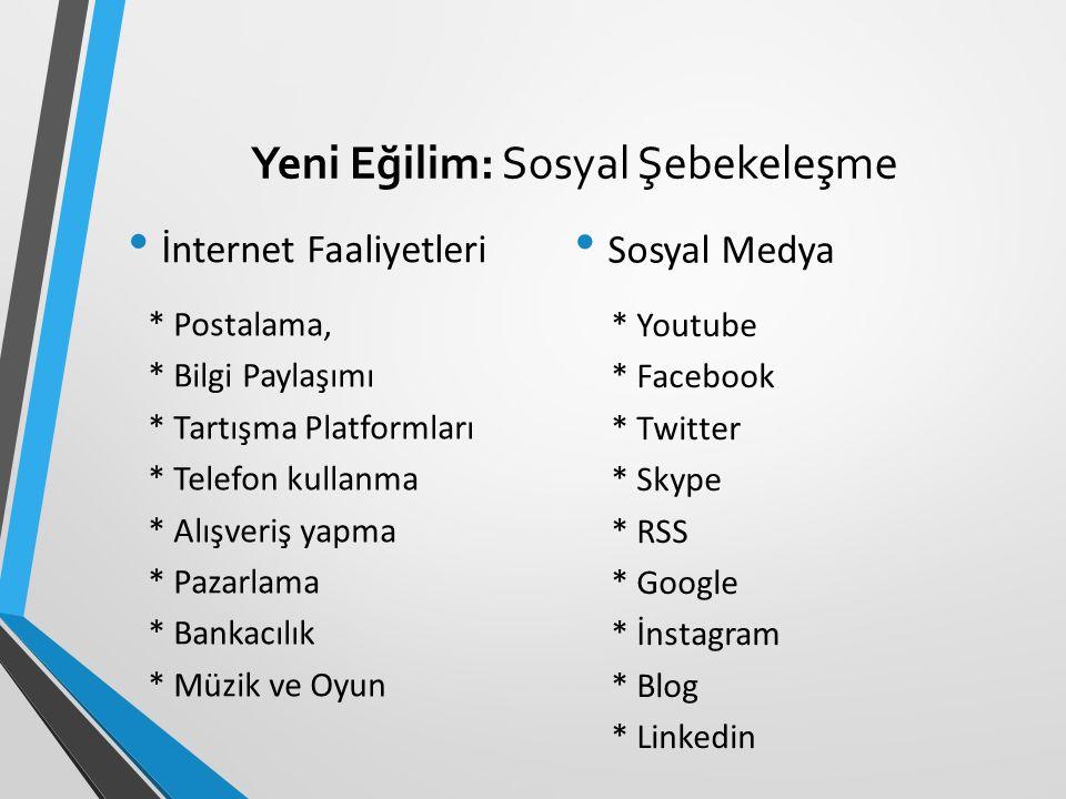 Yeni Eğilim: Sosyal Şebekeleşme * Postalama, * Bilgi Paylaşımı * Tartışma Platformları * Telefon kullanma * Alışveriş yapma * Pazarlama * Bankacılık * Müzik ve Oyun * Youtube * Facebook * Twitter * Skype * RSS * Google * İnstagram * Blog * Linkedin Sosyal Medya İnternet Faaliyetleri
