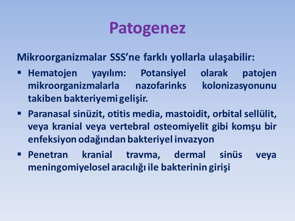 Patogenez Mikroorganizmalar SSS'ne farklı yollarla ulaşabilir:  Hematojen yayılım: Potansiyel olarak patojen mikroorganizmalarla nazofarinks kolonizasyonunu takiben bakteriyemi gelişir.