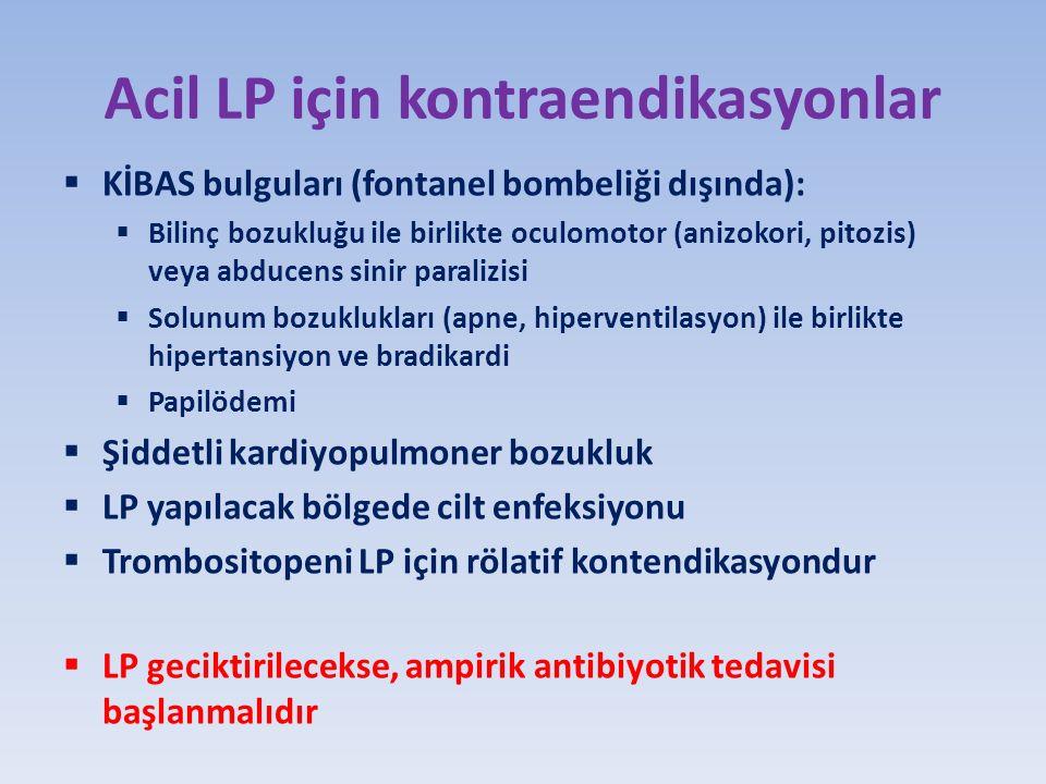 Acil LP için kontraendikasyonlar  KİBAS bulguları (fontanel bombeliği dışında):  Bilinç bozukluğu ile birlikte oculomotor (anizokori, pitozis) veya abducens sinir paralizisi  Solunum bozuklukları (apne, hiperventilasyon) ile birlikte hipertansiyon ve bradikardi  Papilödemi  Şiddetli kardiyopulmoner bozukluk  LP yapılacak bölgede cilt enfeksiyonu  Trombositopeni LP için rölatif kontendikasyondur  LP geciktirilecekse, ampirik antibiyotik tedavisi başlanmalıdır