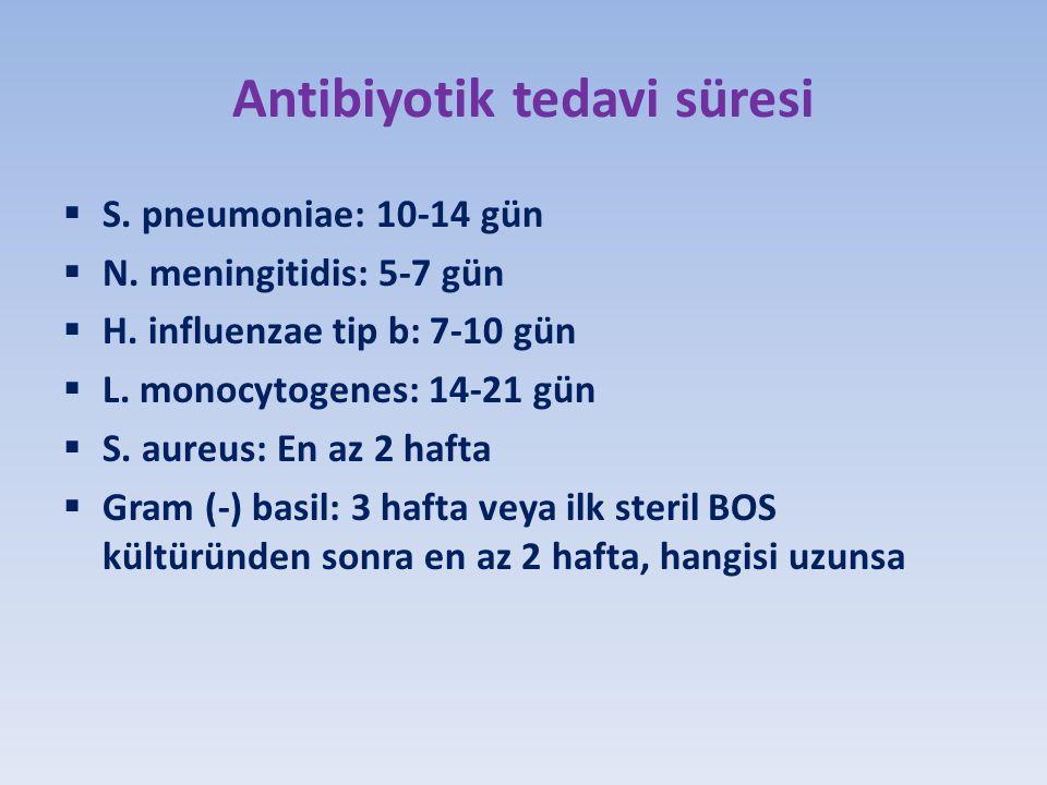 Antibiyotik tedavi süresi  S.pneumoniae: 10-14 gün  N.