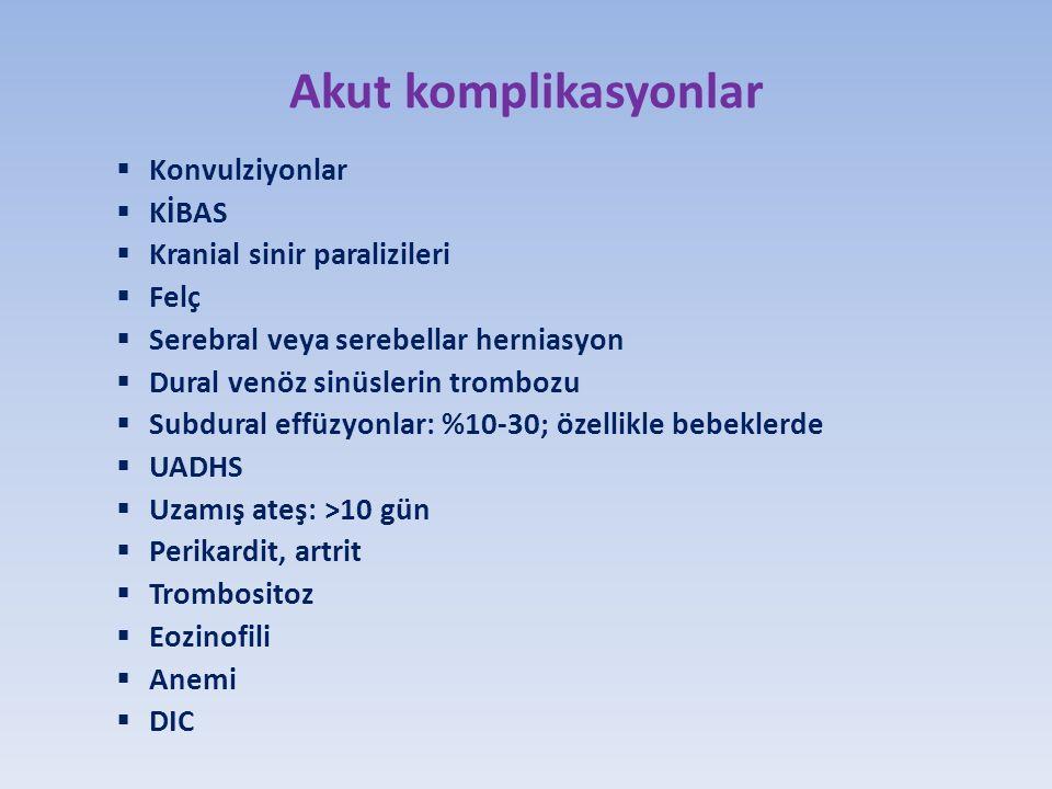 Akut komplikasyonlar  Konvulziyonlar  KİBAS  Kranial sinir paralizileri  Felç  Serebral veya serebellar herniasyon  Dural venöz sinüslerin trombozu  Subdural effüzyonlar: %10-30; özellikle bebeklerde  UADHS  Uzamış ateş: >10 gün  Perikardit, artrit  Trombositoz  Eozinofili  Anemi  DIC