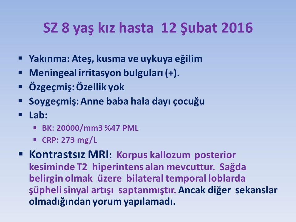 SZ 8 yaş kız hasta 12 Şubat 2016  Yakınma: Ateş, kusma ve uykuya eğilim  Meningeal irritasyon bulguları (+).