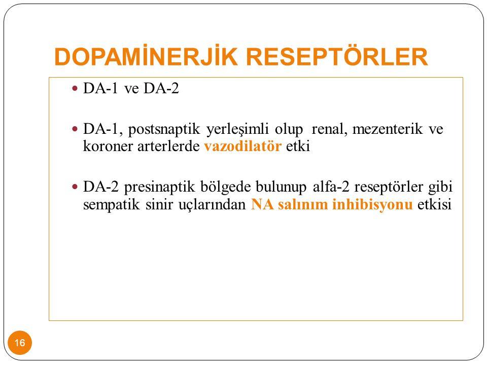 DOPAMİNERJİK RESEPTÖRLER DA-1 ve DA-2 DA-1, postsnaptik yerleşimli olup renal, mezenterik ve koroner arterlerde vazodilatör etki DA-2 presinaptik bölgede bulunup alfa-2 reseptörler gibi sempatik sinir uçlarından NA salınım inhibisyonu etkisi 16