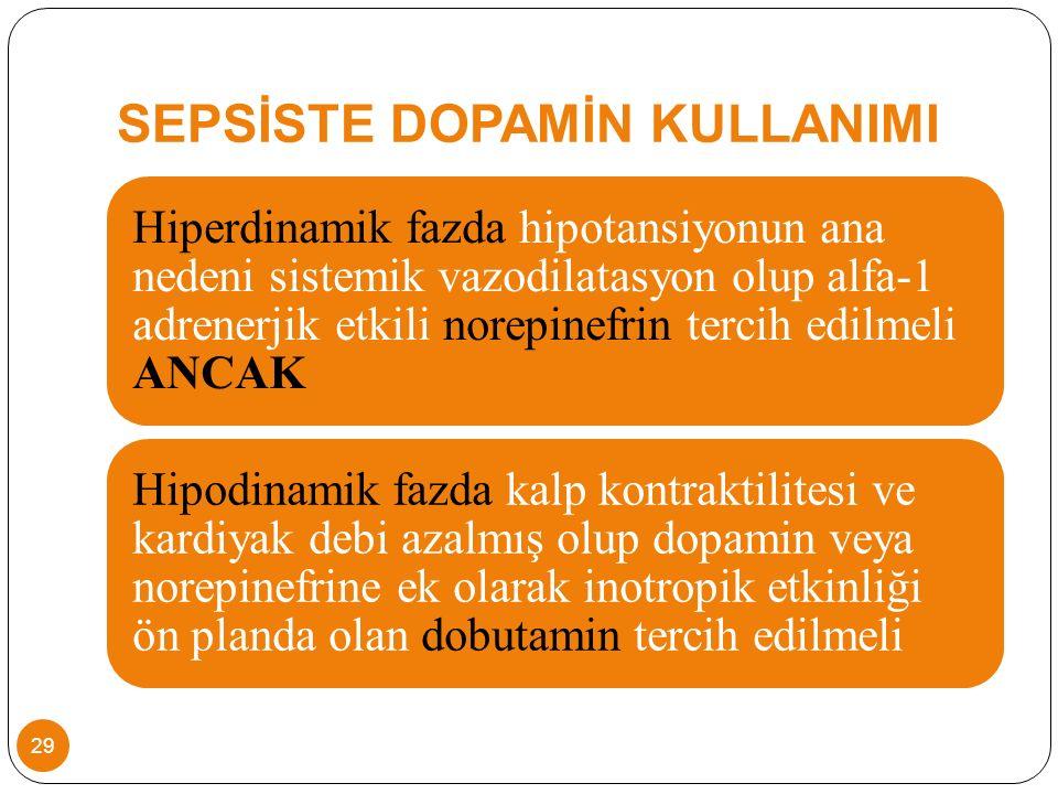 SEPSİSTE DOPAMİN KULLANIMI Hiperdinamik fazda hipotansiyonun ana nedeni sistemik vazodilatasyon olup alfa-1 adrenerjik etkili norepinefrin tercih edilmeli ANCAK Hipodinamik fazda kalp kontraktilitesi ve kardiyak debi azalmış olup dopamin veya norepinefrine ek olarak inotropik etkinliği ön planda olan dobutamin tercih edilmeli 29