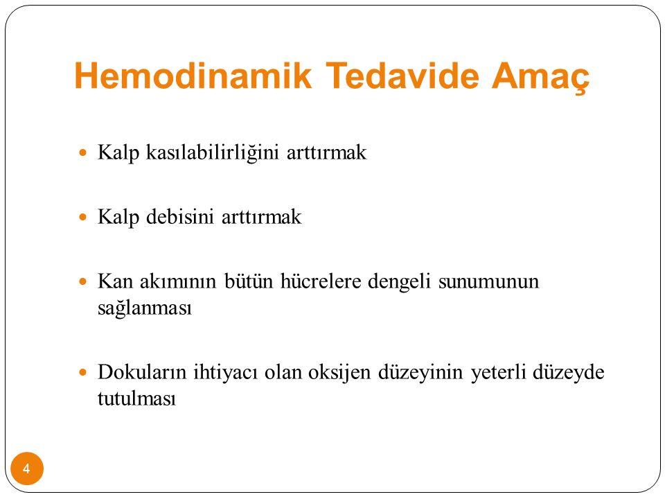 Hemodinamik Tedavide Amaç Kalp kasılabilirliğini arttırmak Kalp debisini arttırmak Kan akımının bütün hücrelere dengeli sunumunun sağlanması Dokuların ihtiyacı olan oksijen düzeyinin yeterli düzeyde tutulması 4