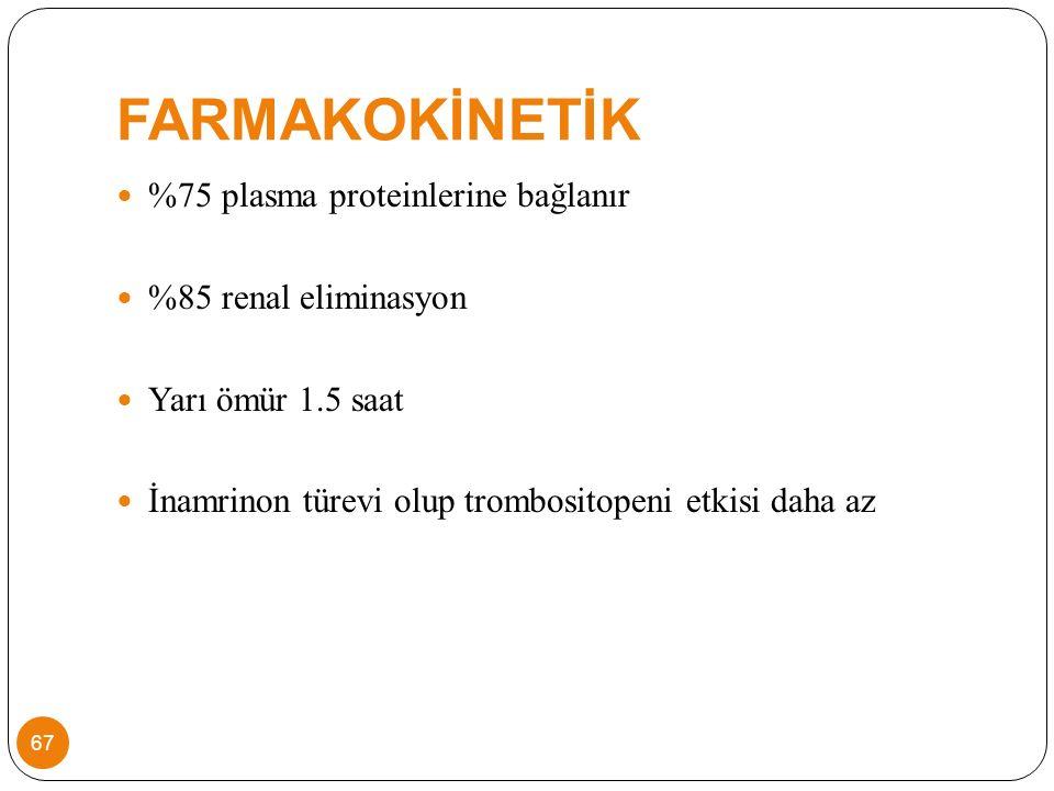 FARMAKOKİNETİK %75 plasma proteinlerine bağlanır %85 renal eliminasyon Yarı ömür 1.5 saat İnamrinon türevi olup trombositopeni etkisi daha az 67