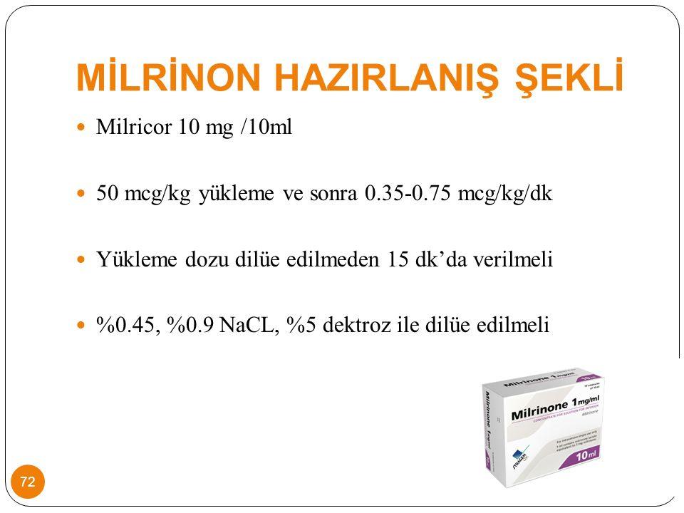 MİLRİNON HAZIRLANIŞ ŞEKLİ Milricor 10 mg /10ml 50 mcg/kg yükleme ve sonra 0.35-0.75 mcg/kg/dk Yükleme dozu dilüe edilmeden 15 dk'da verilmeli %0.45, %0.9 NaCL, %5 dektroz ile dilüe edilmeli 72