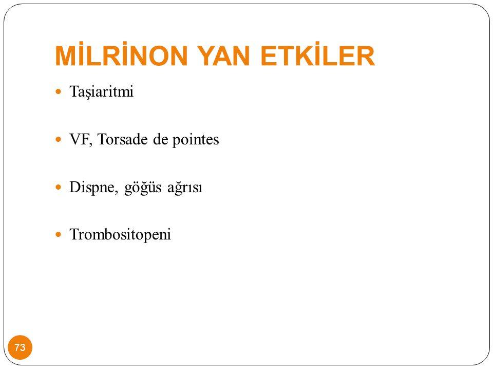 MİLRİNON YAN ETKİLER Taşiaritmi VF, Torsade de pointes Dispne, göğüs ağrısı Trombositopeni 73