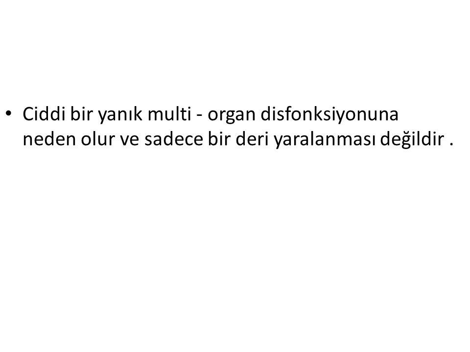 Ciddi bir yanık multi - organ disfonksiyonuna neden olur ve sadece bir deri yaralanması değildir.