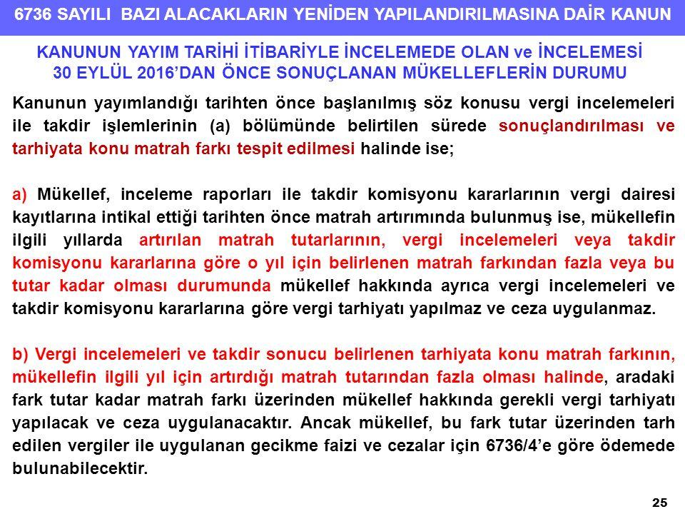 6736 SAYILI BAZI ALACAKLARIN YENİDEN YAPILANDIRILMASINA DAİR KANUN 25 Kanunun yayımlandığı tarihten önce başlanılmış söz konusu vergi incelemeleri ile takdir işlemlerinin (a) bölümünde belirtilen sürede sonuçlandırılması ve tarhiyata konu matrah farkı tespit edilmesi halinde ise; a) Mükellef, inceleme raporları ile takdir komisyonu kararlarının vergi dairesi kayıtlarına intikal ettiği tarihten önce matrah artırımında bulunmuş ise, mükellefin ilgili yıllarda artırılan matrah tutarlarının, vergi incelemeleri veya takdir komisyonu kararlarına göre o yıl için belirlenen matrah farkından fazla veya bu tutar kadar olması durumunda mükellef hakkında ayrıca vergi incelemeleri ve takdir komisyonu kararlarına göre vergi tarhiyatı yapılmaz ve ceza uygulanmaz.