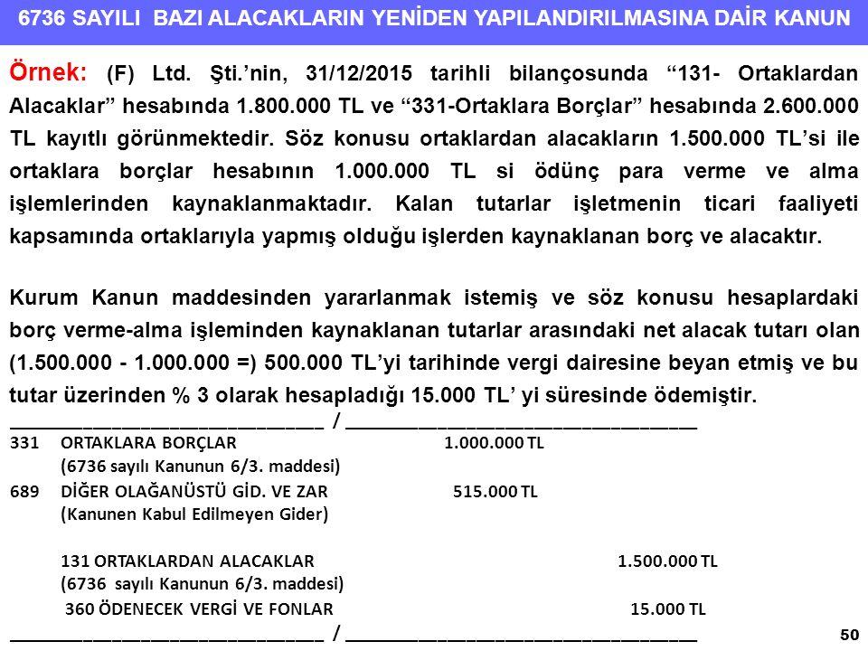 """6736 SAYILI BAZI ALACAKLARIN YENİDEN YAPILANDIRILMASINA DAİR KANUN Örnek: (F) Ltd. Şti.'nin, 31/12/2015 tarihli bilançosunda """"131- Ortaklardan Alacakl"""