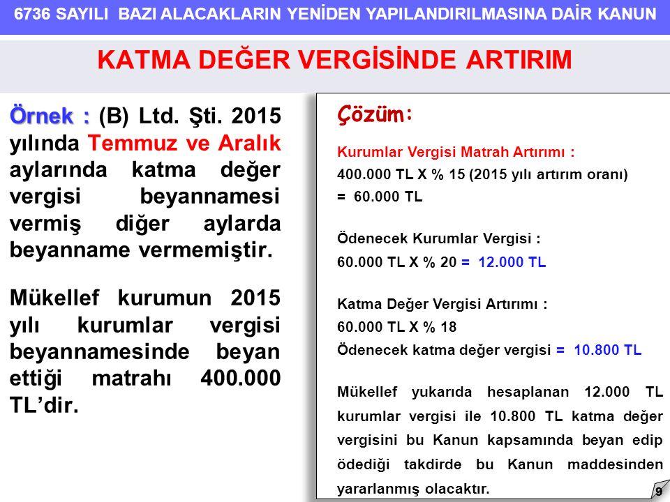 6736 SAYILI BAZI ALACAKLARIN YENİDEN YAPILANDIRILMASINA DAİR KANUN Örnek : Örnek : (B) Ltd. Şti. 2015 yılında Temmuz ve Aralık aylarında katma değer v