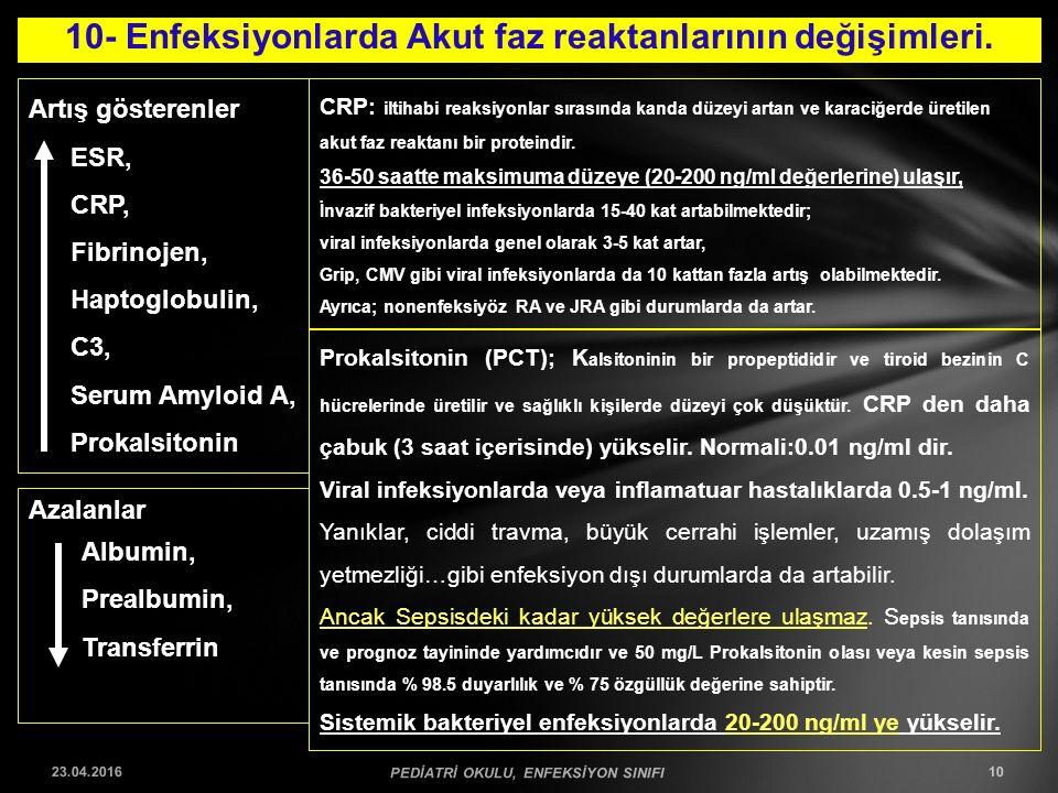 10- Enfeksiyonlarda Akut faz reaktanlarının değişimleri. 23.04.2016 PEDİATRİ OKULU, ENFEKSİYON SINIFI 10 Artış gösterenler ESR, CRP, Fibrinojen, Hapto