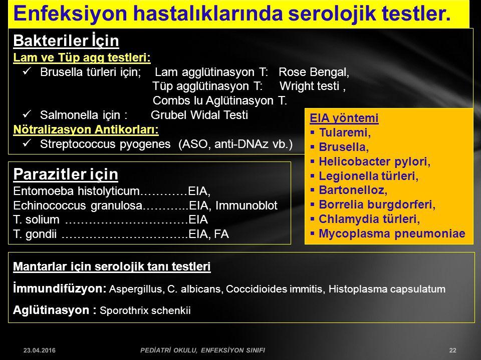 Enfeksiyon hastalıklarında serolojik testler. 23.04.2016PEDİATRİ OKULU, ENFEKSİYON SINIFI22 Bakteriler İçin Lam ve Tüp agg testleri: Brusella türleri
