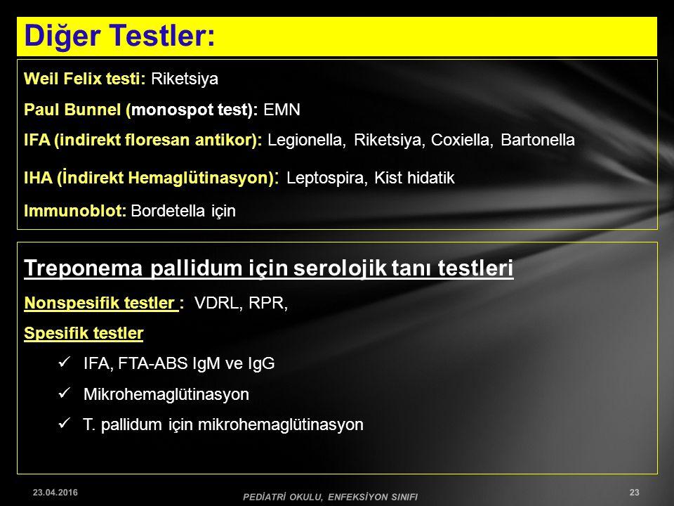 Diğer Testler: 23.04.2016 PEDİATRİ OKULU, ENFEKSİYON SINIFI 23 Weil Felix testi: Riketsiya Paul Bunnel (monospot test): EMN IFA (indirekt floresan ant