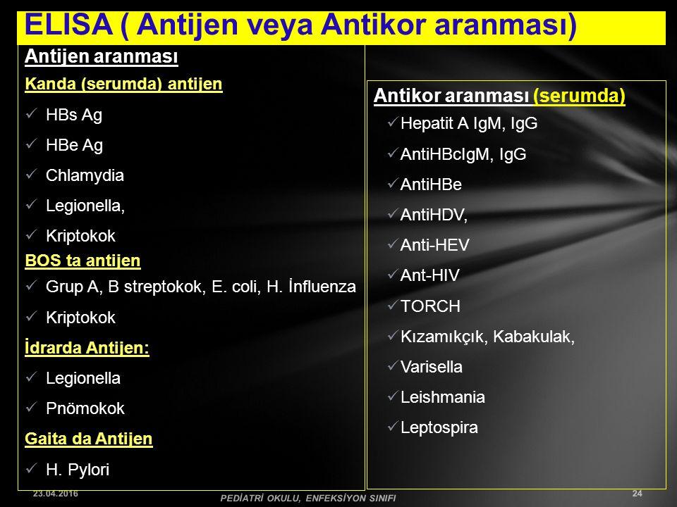 ELISA ( Antijen veya Antikor aranması) 23.04.2016 PEDİATRİ OKULU, ENFEKSİYON SINIFI 24 Antijen aranması Kanda (serumda) antijen HBs Ag HBe Ag Chlamydi