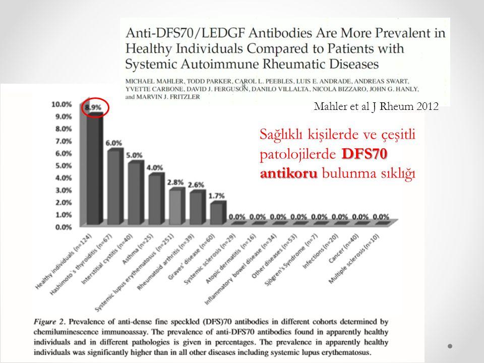 Mahler et al J Rheum 2012 DFS70 antikoru Sağlıklı kişilerde ve çeşitli patolojilerde DFS70 antikoru bulunma sıklığı