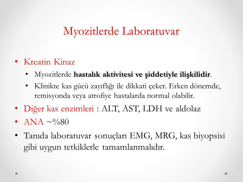 Myozitlerde Laboratuvar Kreatin Kinaz hastalık aktivitesi ve şiddetiyle ilişkilidir Myozitlerde hastalık aktivitesi ve şiddetiyle ilişkilidir.