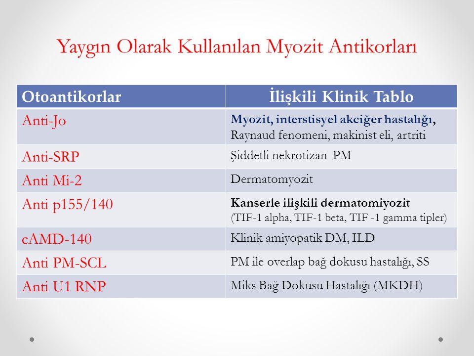 Yaygın Olarak Kullanılan Myozit Antikorları Otoantikorlarİlişkili Klinik Tablo Anti-Jo Myozit, interstisyel akciğer hastalığı, Raynaud fenomeni, makinist eli, artriti Anti-SRP Şiddetli nekrotizan PM Anti Mi-2 Dermatomyozit Anti p155/140 Kanserle ilişkili dermatomiyozit (TIF-1 alpha, TIF-1 beta, TIF -1 gamma tipler) cAMD-140 Klinik amiyopatik DM, ILD Anti PM-SCL PM ile overlap bağ dokusu hastalığı, SS Anti U1 RNP Miks Bağ Dokusu Hastalığı (MKDH)