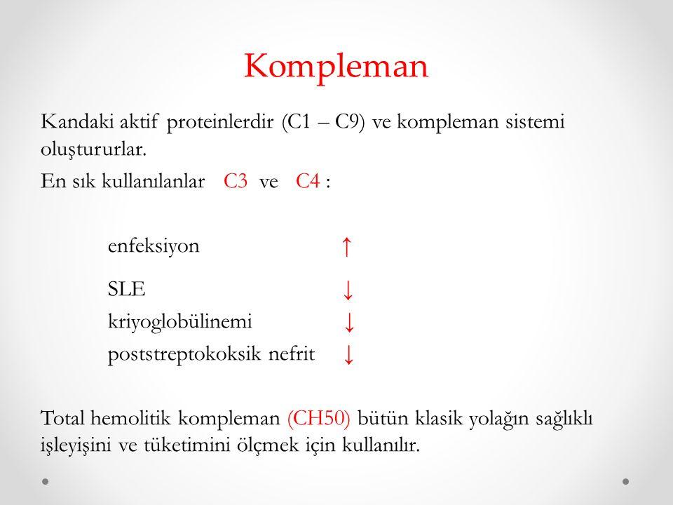 Kompleman Kandaki aktif proteinlerdir (C1 – C9) ve kompleman sistemi oluştururlar.