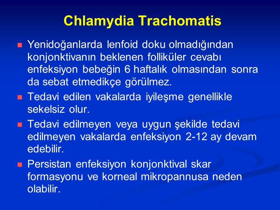 Chlamydia Trachomatis Yenidoğanlarda lenfoid doku olmadığından konjonktivanın beklenen folliküler cevabı enfeksiyon bebeğin 6 haftalık olmasından sonra da sebat etmedikçe görülmez.