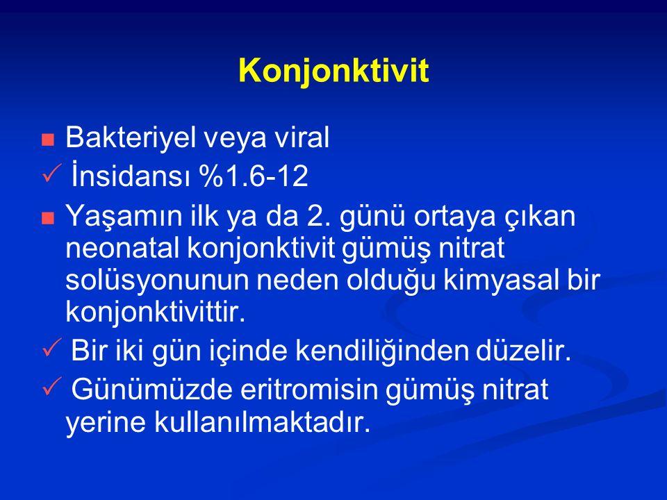 Konjonktivit Bakteriyel veya viral  İnsidansı %1.6-12 Yaşamın ilk ya da 2.