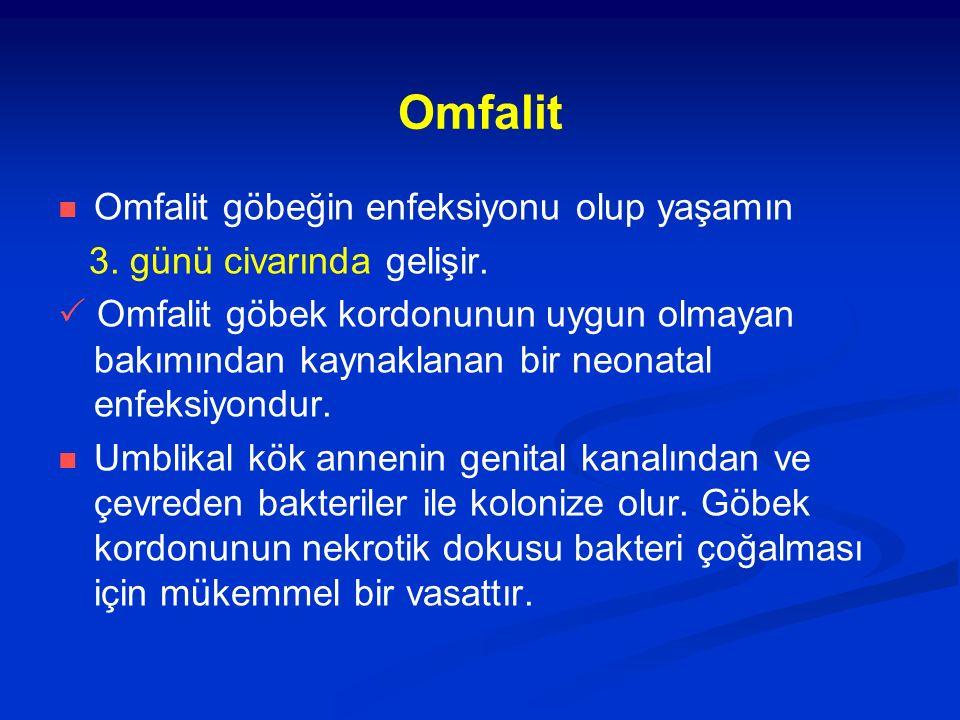 Omfalit Omfalit göbeğin enfeksiyonu olup yaşamın 3. günü civarında gelişir.  Omfalit göbek kordonunun uygun olmayan bakımından kaynaklanan bir neonat