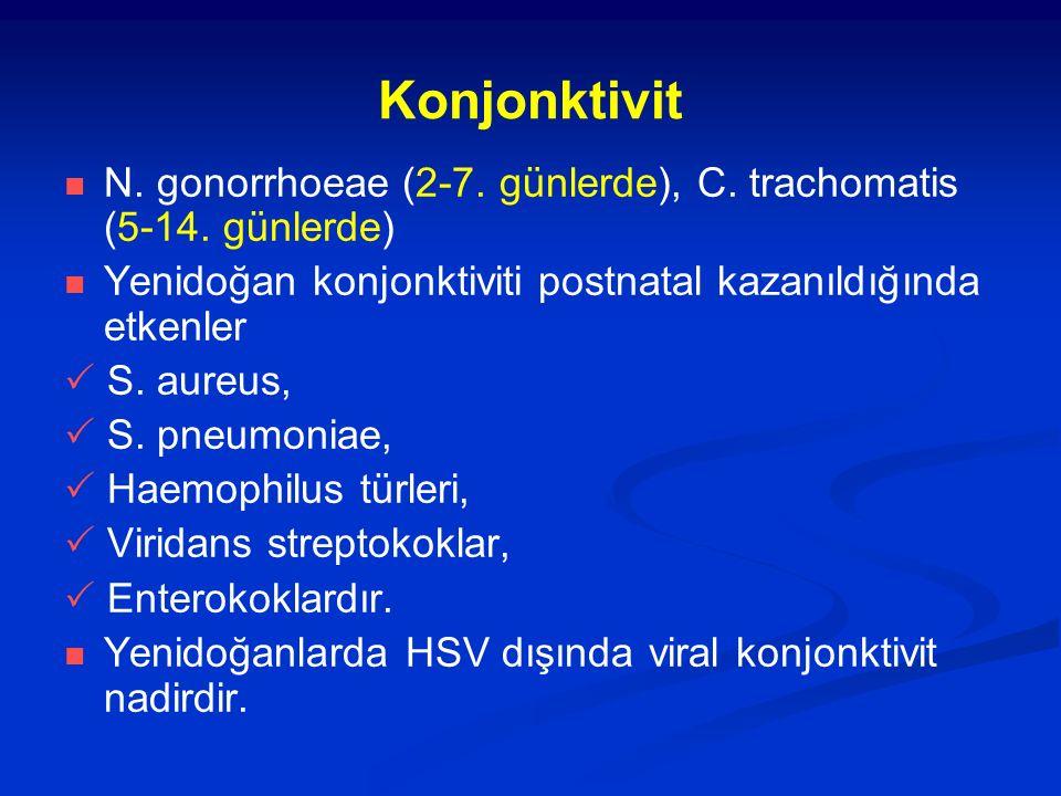 Konjonktivit N. gonorrhoeae (2-7. günlerde), C. trachomatis (5-14. günlerde) Yenidoğan konjonktiviti postnatal kazanıldığında etkenler  S. aureus, 