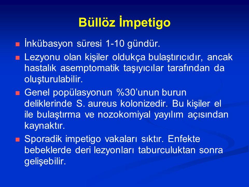 Büllöz İmpetigo İnkübasyon süresi 1-10 gündür. Lezyonu olan kişiler oldukça bulaştırıcıdır, ancak hastalık asemptomatik taşıyıcılar tarafından da oluş